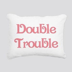 Double Trouble Pink Rectangular Canvas Pillow
